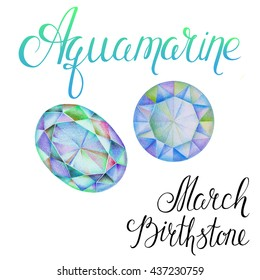 March birthstone Aquamarine isolated on white background. Close up illustration of gems drawn by hand with colored pencils. Realistic faceted stones.