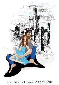 March romantic mixed media illustration