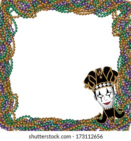 Mardi Gras beads and jester mask background.