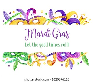 Mardi Gras border with traditional objects on top and bottom. Masks, feathers, crowns and beads. Title in French Fat Tuesday. Hand drawn watercolor illustration on white background