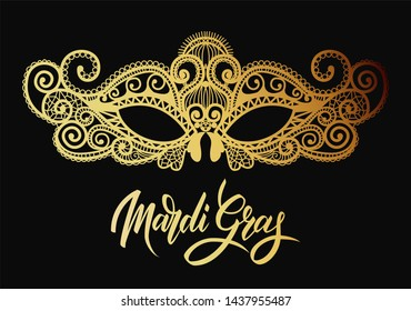 Mardi Gras Carnival mask of lace golden. Mono line style.  Illustration Background.