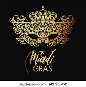 Mardi Gras Carnival mask of lace golden. Mono line style.  Illustration Background.