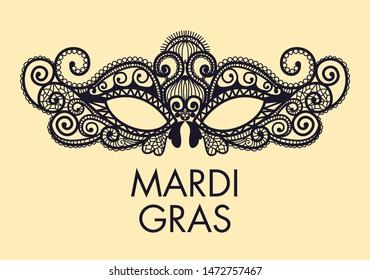 Mardi Gras Carnival mask of lace. Mono line style.  Illustration Background.