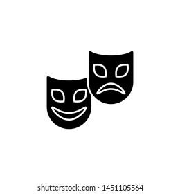 Mardi gras, comedy and tragedy masks icon. Simple glyph, flat illustration of Mardi Gras icons for UI and UX, website or mobile application