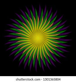 Mardi gras. Fat Tuesday. Template for invitation, ticket, banner. Colored feathers arranged in a circle