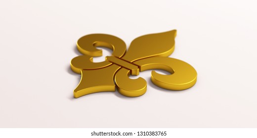 Mardi Gras Fleur-de-Lis Gold. 3D Render Illustration