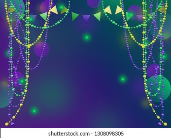 Mardi Gras holiday background. 3D illustration suitable for greeting cards, invitations, posters, prints.