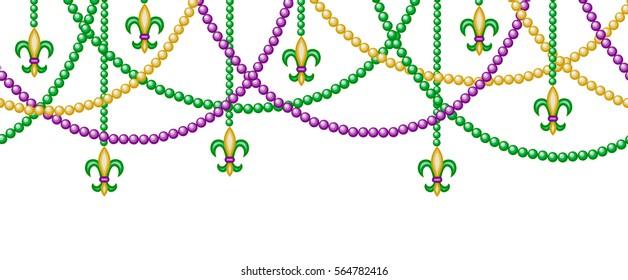 Mardi gras horizontal seamless border with beads