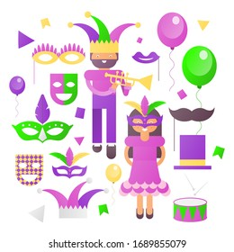 Mardi Gras Icons Set on White Background. Carnival Symbols and Objects - Mask with Feathers, Joker, Party Decorations, Cartoon People. Illustration.