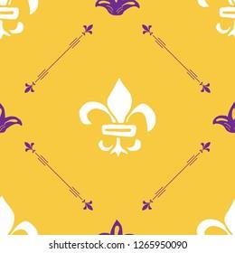 Mardi Gras seamless pattern illustration. Hand drawn sketched doodle Holyday elements and royal symbols, illustration.