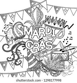 Mardi Gras or Shrove Tuesday. Carnival mask and hats, jester's hat, crowns, fleur de lis, feathers and ribbons. illustration. Coloring page for adult coloring book.