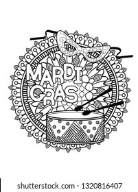 Mardi Gras or Shrove Tuesday coloring page for adult coloring book. illustration.