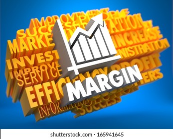 Margin with Growth Chart Icon on Yellow WordCloud on Blue Background.