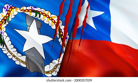 Mariana Islands and Chile flags with scar concept. Waving flag,3D rendering. Chile and Northern Mariana Islands conflict concept. Northern Mariana Islands Chile relations concept. flag of Mariana