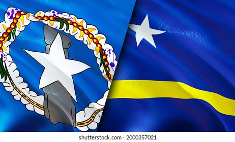 Mariana Islands and Curacao flags. 3D Waving flag design. Curacao Northern Mariana Islands flag, picture, wallpaper. Northern Mariana Islands vs Curacao image,3D rendering. Mariana Islands Curacao