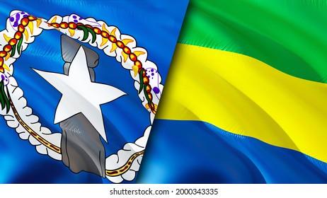 Mariana Islands and Gabon flags. 3D Waving flag design. Gabon Northern Mariana Islands flag, picture, wallpaper. Northern Mariana Islands vs Gabon image,3D rendering. Mariana Islands Gabon relations