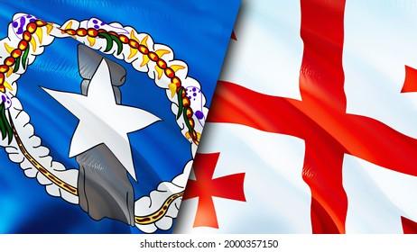 Mariana Islands and Georgia flags. 3D Waving flag design. Georgia Northern Mariana Islands flag, picture, wallpaper. Northern Mariana Islands vs Georgia image,3D rendering. Mariana Islands Georgia