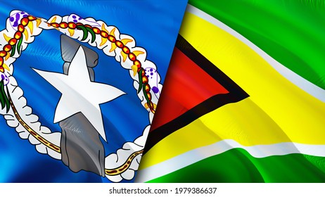 Mariana Islands and Guyana flags. 3D Waving flag design. Guyana Northern Mariana Islands flag, picture, wallpaper. Northern Mariana Islands vs Guyana image,3D rendering. Mariana Islands Guyana