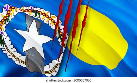 Mariana Islands and Palau flags with scar concept. Waving flag,3D rendering. Palau and Northern Mariana Islands conflict concept. Northern Mariana Islands Palau relations concept. flag of Mariana