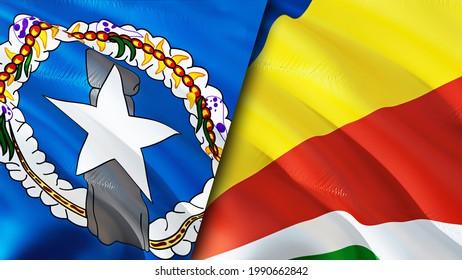 Mariana Islands and Seychelles flags. 3D Waving flag design. Seychelles Northern Mariana Islands flag, picture, wallpaper. Northern Mariana Islands vs Seychelles image,3D rendering. Mariana Islands