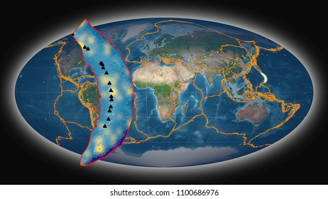 Mariana tectonic plate extruded and presented against the global satellite imagery in the Mollweide projection
