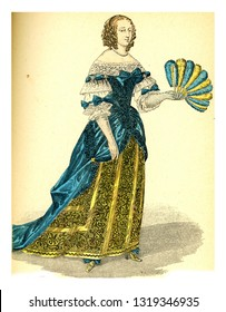 Marie of Hautefort, vintage engraved illustration. 12th to 18th century Fashion By Image.