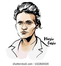 Marie Sklodowska Curie watercolor portrait with ink contours. The first woman to win a Nobel Prize.