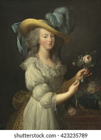 Marie-Antoinette, by Elisabeth-Louise Vigee Le Brun, 1783, French painting, oil on canvas. The tragic guillotined French Queen was played by Norma Shearer in the 1938 film, MARIE ANTOINETTE, and by K