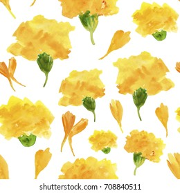 marigold flowers and petals. Traditional rural indian floral garland for celebration. illustration of Flower Toran for Decoration in Indian festival. Watercolor illustration. Seamless background.
