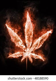 Marijuana cannabis in fire. Illustration of the marijuana enveloped in flames isolated on black background. High resolution marijuana in fire image for a cannabis party poster or banner.