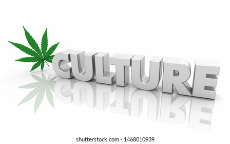 Marijuana Culture Leaf Cannabis Word 3d Illustration