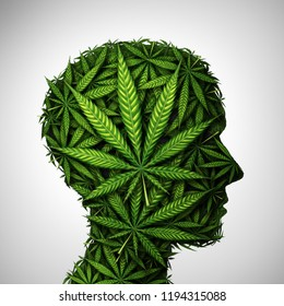 Marijuana head and cannabis consumer symbol as a human face made of weed leaves as a pot or herbal medicine patient and effects on psychology or drug dealer concept in a 3D illustration style.
