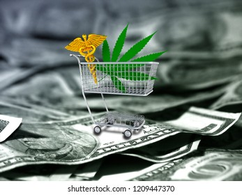 Marijuana leaf and caduceus in a cart. US dollars. 3D rendering