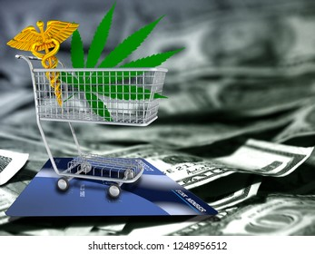 Marijuana leaf and caduceus in a cart. US dollars and credit card. 3D rendering