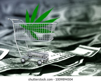 Marijuana leaf in a cart. US dollars. 3D rendering