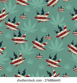 Marijuana Leaf with the colors of American flag Marijuana Leaf Pattern Repeat Background that is seamless and repeats