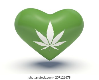 Marijuana leaf heart. 3d illustration.