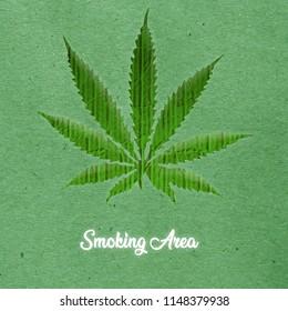 marijuana leaf isolated on green background 3d illustration