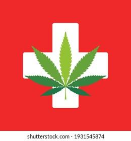 Marijuana leaf. Medical cannabis sign Icon