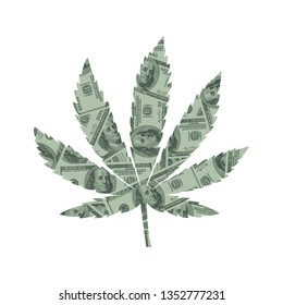 Marijuana Leaf and Money Concept, Hundred Dollar Bills