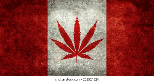 Marijuana leaf replacing the Maple leaf on the Canadian flag - Dirty vintage version
