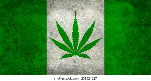 Marijuana leaf replacing the Maple leaf on the Canadian flag - Dirty Green vintage version