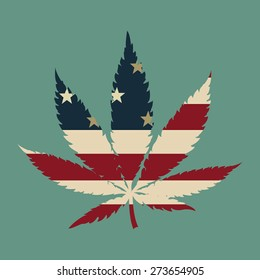 Marijuana leaf with the USA flag colors