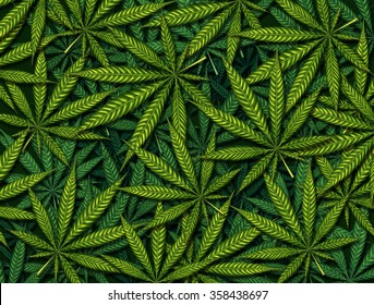 Marijuana leaves background pattern as a symbol for medicinal pot or medical weed farm as a group of green leaves as a cannabis theme.