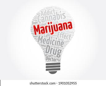 Marijuana light bulb word cloud collage, medical concept background