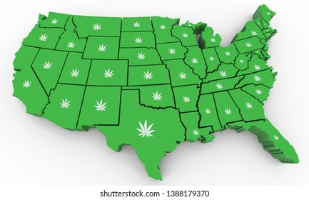 Marijuana Pot Weed Cannabis United States America USA Map 3d Illustration