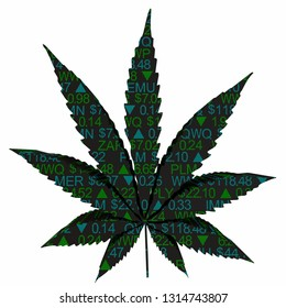 Marijuana Stock Market Ticker Leaf Business Companies 3d Illustration