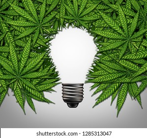 Marijuana thinking and cannabis creativity or consumer symbol as a light bulb shape made of weed leaves as a pot or herbal medicine and effects on psychology concept with 3D illustration elements.