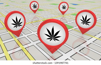 Marijuana Weed Pot Cannabis Map Pins Locations Dealer Spots 3d Illustration