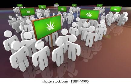 Marijuana Weed Pot Cannabis People Groups Users Customers 3d Illustration